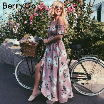 BerryGo Off shoulder summer style long dress Women Split smocking print maxi dress Elegant boho chiffon causal dress vestidos