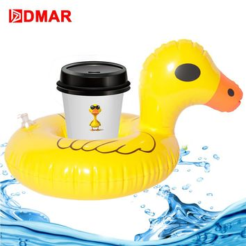 DMAR 3pcs Inflatable Yellow Duck Pool Drink Float Toys Cup Holder For Kids Bath Swimming Ring Sea Water Beach Party Flamingo