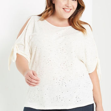 Distressed Cold Shoulder Tank Top Plus Size