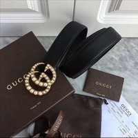 GUCCI Vogue Women Men Double G Pearl Smooth Buckle Leather Belt