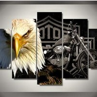 Harley Davidson with Bald Eagle