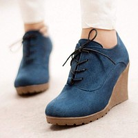 Wedges Women Boots Fashion Flock High-heeled Platform Ankle Boots Lace Up High Heels Spring Autumn Shoes