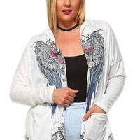 Plus Size Angel Wing Knit Hoodie Top