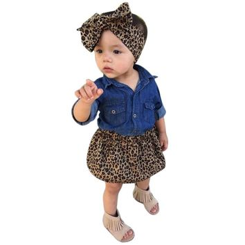 Toddler Girls Sassy Denim & Leopard 3pc. Skirt Set