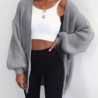 Explosive models of solid color loose full-length bulk sweater long cardigan
