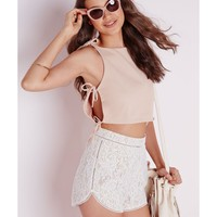 Missguided - Tie Side Crepe Crop Top Taupe