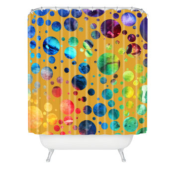 Madart Inc. Polka Dots Gold Shower Curtain