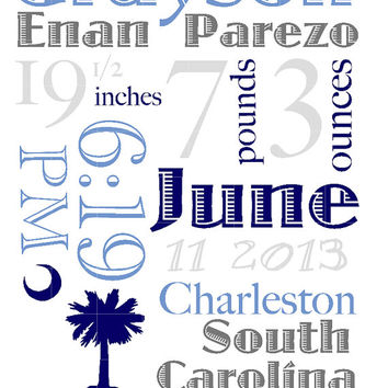 South Carolina Baby Announcement Wall Art