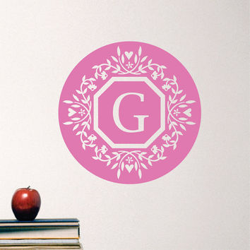 Personalized Monogram Wall Decals Floral Border Circle with Initial Vinyl Wall Art Nursery Monogram