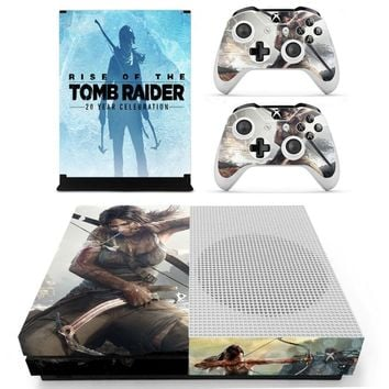 Tomb Raider For Xbox One S Vinyl Skin Sticker Decals for the Xbox One S Console With Two Wireless Controller Decals