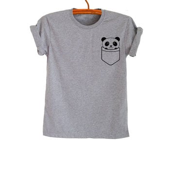 Panda Shirt Pocket Gray Fashion Funny Slogan Mens Womens Girls Teenager Street Style Sassy Cute Instagram Pinterest Twitter Gifts Present