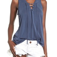 Madison & Berkeley Lace-Up Tank | Nordstrom