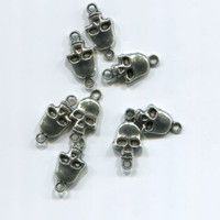 4 silver skull charms links metal skeleton pendants lot halloween 9mm x 20mm
