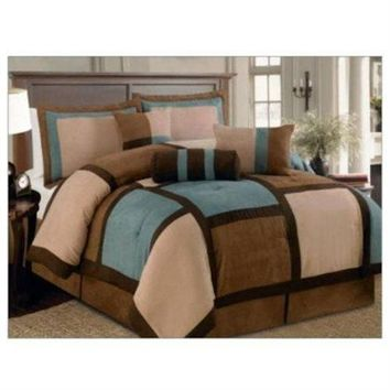 7 Piece Aqua, Brown, and Beige Micro Suede Patchwork King Size Comforter Set