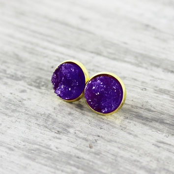 Purple Stud Earrings, Faux Druzy Earrings, Druzy Stud Earrings, Violet Stud Earrings, Resin Cabochon Earrings, Gold Stud Earrings