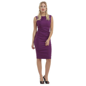 The Claudette Purple Pleated Super Stretch Pencil Dress