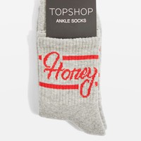 'Honey' Slogan Sporty Tube Ankle Socks