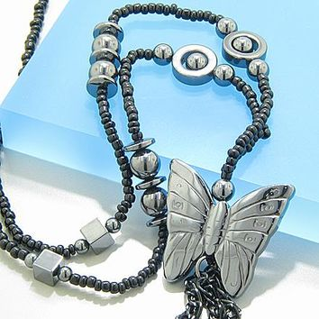 Protection Butterfly Hematite Necklace