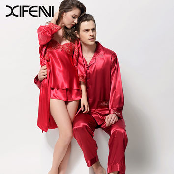 XIFENNI New Lover Satin Silk Pajama Sets Embroidery Lace Couple Pyjama Set Emulation Silk Sleepwear For Women Men 3215 3315