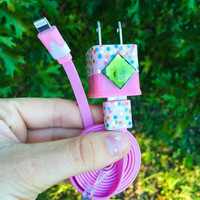 Pink Polkadot iPhone 5 6 7 Charger