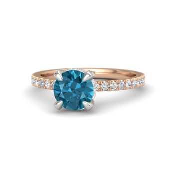 Round London Blue Topaz 14K Rose Gold Ring with White Sapphire & Diamond