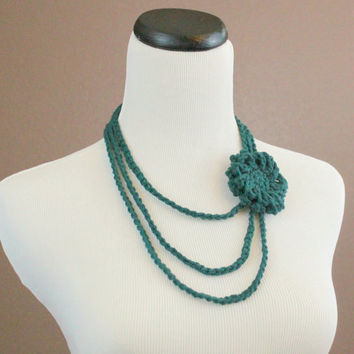 Flower Necklace Crochet Necklace Flower Brooch Layered Necklace Teal