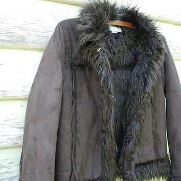 Vintage 90s Faux Fur Suede Jacket Shearling Dark Chocolate Brown Penny Lane Boho Hippie Vtg 1990s Size XXS-XS