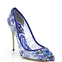 Dolce & Gabbana - Jeweled Mesh Tile-Print Pumps - Saks Fifth Avenue Mobile