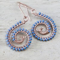 Shiny Blue Spiral Earrings