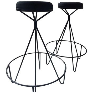 Pre-owned Mid-Century Paul Tuttle Style Iron Bar Stools