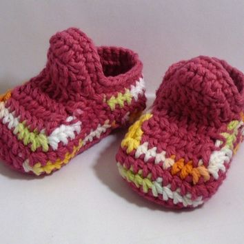 Baby Booties - Rainbow Stripes - 0-6 Months