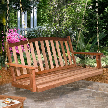 4-ft. Curved Back Natural Wood Finish Porch Swing - 500 lb. Weight Capacity