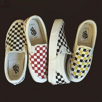 Vans Classic Canvas Old Skool Checkerboard Print  Trending Women Men Casual Flats Shoes Sneakers Sport Running Shoes I