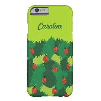 Green Leaves And Ladybugs Spring Time Custom Name Barely There iPhone 6 Case