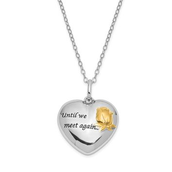 Sterling Silver & Gold Tone Accent Heart Ash Holder Necklace, 18 Inch