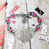 Forever Love, Swarovski Heart Bracelet, Valentines Gift, Large Heart, Adjustable, DKSJewelrydesigns, FREE SHIPPING