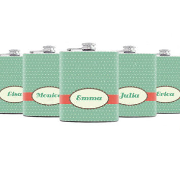 Bridesmaids gifts Bridesmaid Flask Set of 5 Personalized Flasks for Your Bridesmaids Wedding flask Polka Dot