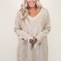 Distressed Edge Slouchy Sweater