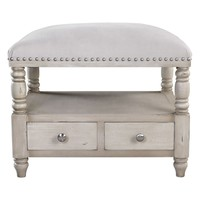 Bailor White Canvas Upholstered Storage Bench by Uttermost