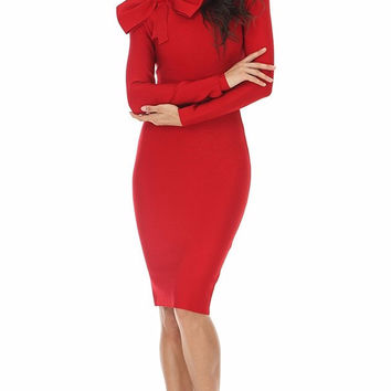 Red Dynasty Bow Bandage Dress