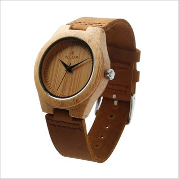 Fashion Casual Leather Strap Wrist Watch Male Relogio BIRD Men Bamboo Wood Watches Men and Women Quartz Clock