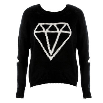 Peep Elbow Diamond Knit Sweater
