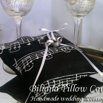 Hand painted Satin Black/ white ring bearer pillow Music theme Wedding March personalized wedding favor
