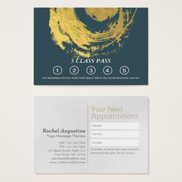 YOGA Massage Therapy Class Pass Appointment Gold Business Card