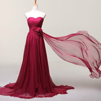 New Style Fashion Burgundy Chiffon Bridesmaid Dresses Dress Sweetheart Empire Chiffon Long Cheap Wedding Party Prom Evening Dress Gown