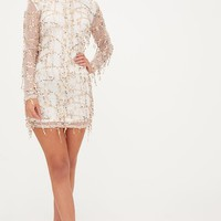 Freyana Rose Gold Sequin Detail Long Sleeve Bodycon Dress