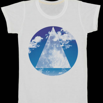Blue Sky Circle Moon Triangle Women T-Shirt Art Indie Tee Shirt White Tshirt Size XS, S, L