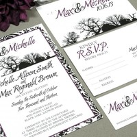 Tree Damask | Rustic Wedding Invitation Suite by RunkPock Designs | Outdoor Wedding Barn Woods Fall or Winter Invitation | shown in black and dark purple