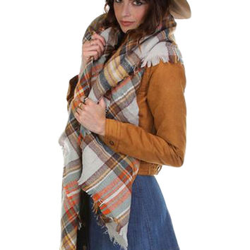 Plaid Oversized Blanket Scarf - Grey