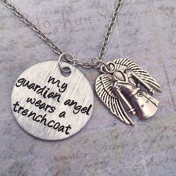 My Guardian Angel Wears A Trenchcoat Necklace, Supernatural Jewelry, Team Free Will Jewelry, Fandom Jewelry, Castiel Necklace